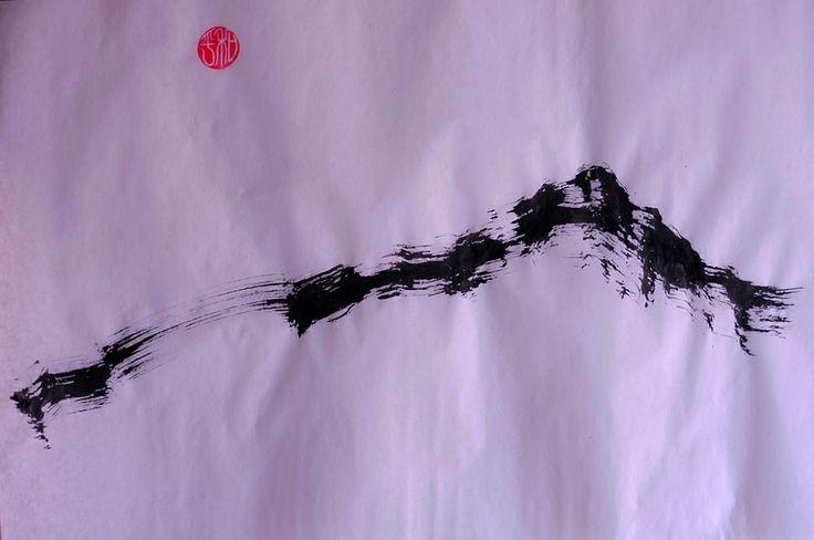 Zen Mountain. Ink and vegetal paper. 30x42cm. By Ramón Peralta, 2014.