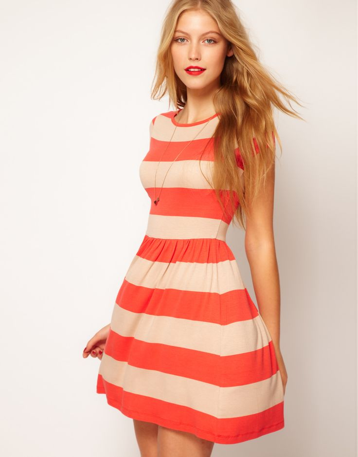 orange striped skater dress: Summer Dresses, Asos Skater, Jeans Jackets, Style, Color, Cap Sleeves, Wide Stripes, Skater Dresses, Stripes Dresses