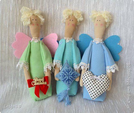 Куклы Мастер-класс Новый год Шитьё Рождественский Ангел-тильда МК Кружево Нитки Пряжа Пуговицы Ткань фото 1