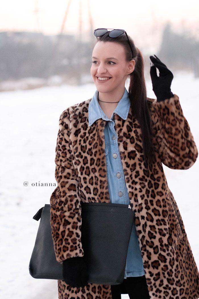 Denim coat outfit style fashion jeans płaszcz blue, Panther Leopard Fur Coats  OTIANNA