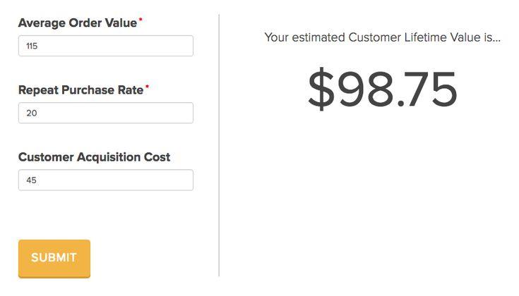 Il existe un outil, customerlifetimevalue.co, qui vous aide à calculer la valeur de vie client en rentrant juste le panier moyen, le pourcentage moyen de réachat et le coût d'acquisition client.