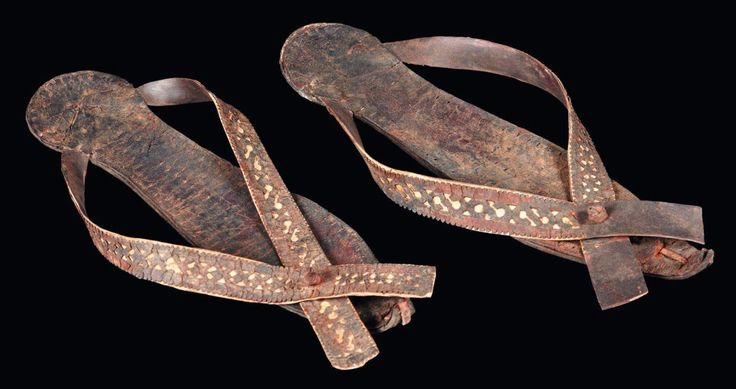 Egyptian leather pair of sandals, Coptic Period,  5th-8th century A.D. 24 cm long. Private collection