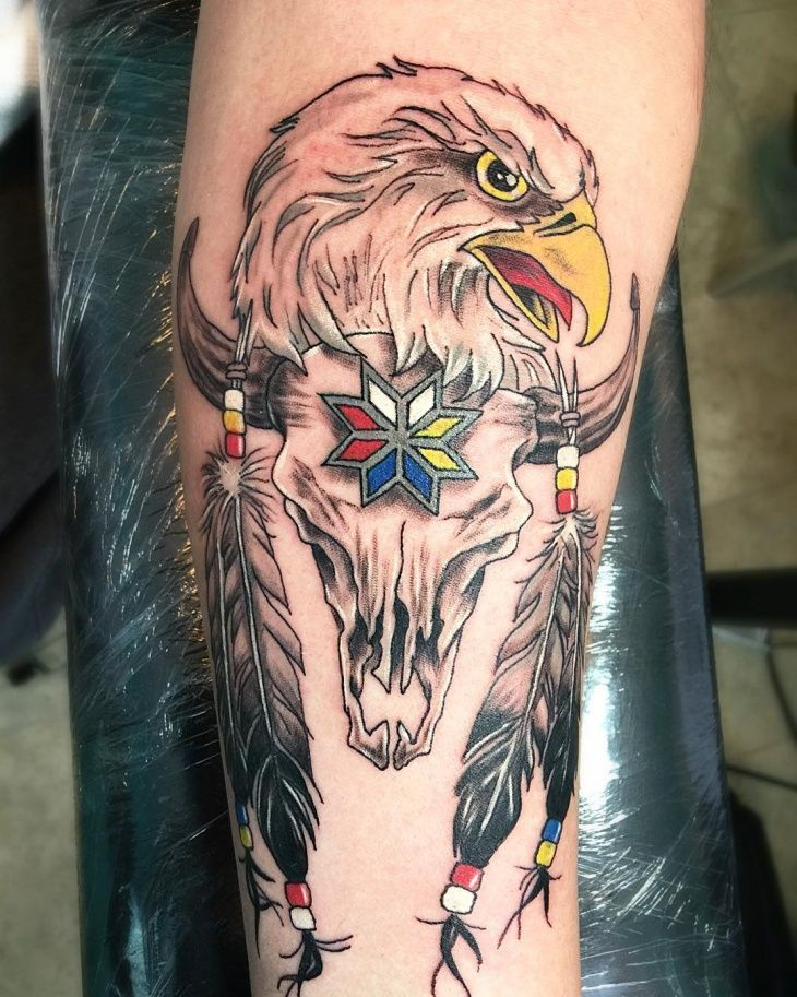Eagle Feather with Skull Tattoo