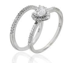 Inel de logodna  argint 925 rodiat, design italian format din 2 inele cu pietre zirconia albe  si o piatra inima de 0.5cm