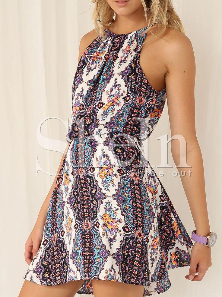 Robe+à+bretelle+imprimé+tribal+ras+de+cou+-multicolore++14.26