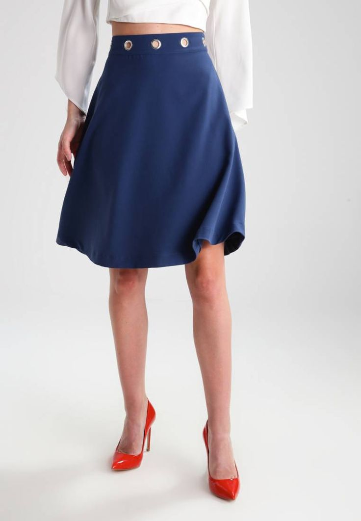 """mint&berry. A-line skirt - dark denim. Fit:regular. Outer fabric material:82% polyester, 15% viscose, 3% spandex. Our model's height:Our model is 70.0 """" tall and is wearing size 8. Pattern:plain. Care instructions:do not tumble dry,mach..."""