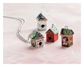 Easy Mixed-Media Jewelry Project: Collaged birdhouse pendants by Heather Alexander