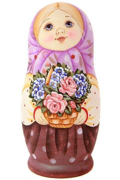 Matryoshka (Russian nesting doll) with a basket of flowers. #folk #art