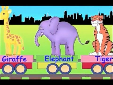 Learn Wild Animal Train - learning zoo animals video for kids - YouTube