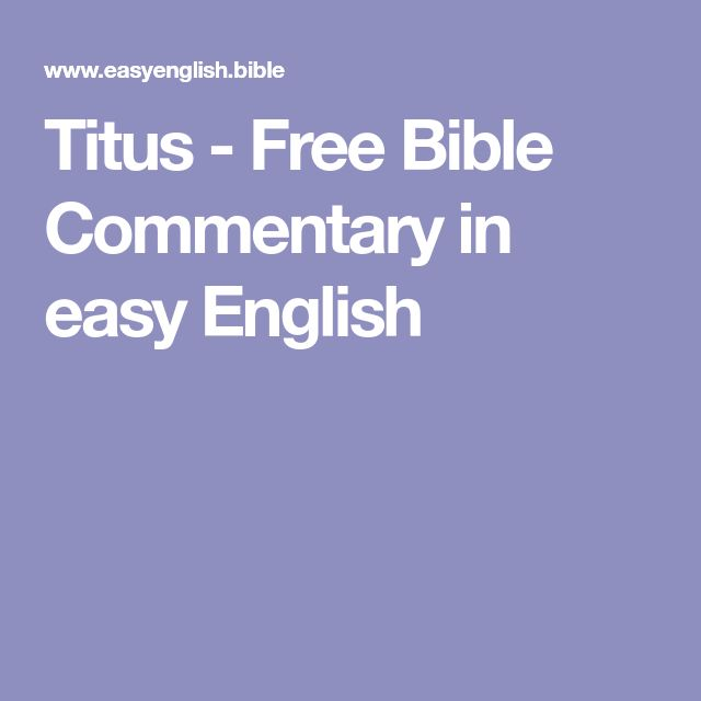 Titus - Free Bible Commentary in easy English