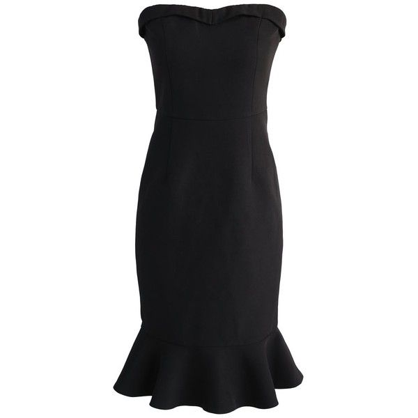 Chicwish Simple Sophistication Strapless Body-con Dress in Black (679.565 IDR) ❤ liked on Polyvore featuring dresses, black, little black dresses, strapless little black dress, flutter-sleeve dress, frilly dresses and strapless dresses