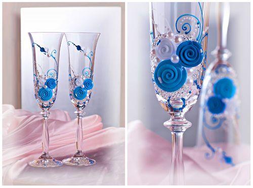 Hochzeitsgläser edles blau verlobung Brautpaar Sektkelche wedding