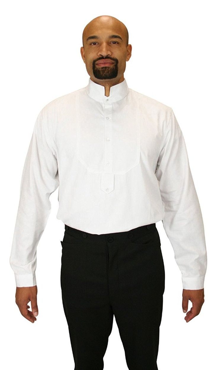 Victorian Men's Shirts- Wingtip, Gambler, Bib, Collarless Historical Emporium Mens Victorian Collar Dress Shirt $59.95 AT vintagedancer.com