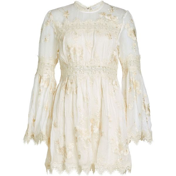 Zimmermann Embroidered Playsuit (6.730.175 IDR) ❤ liked on Polyvore featuring jumpsuits, rompers, beige, playsuit romper, short romper, white romper, white short romper and white short rompers