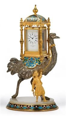 A silver table clock inscribed Alp. Giroux, Paris, circa 1880