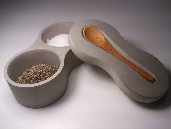 Concrete salt and pepper tabletop serving set