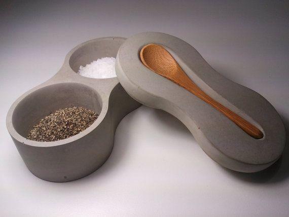 Concrete salt and pepper tabletop serving set