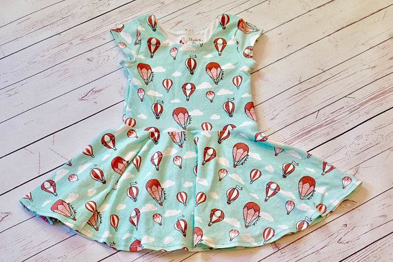 Hot Air Balloon Dress. Toddler Dress. Little Girl Dress. Up, up and away! This beautiful hot air balloon play dress is made of a comfy knit cotton spandex material with a drop waist and twirly skirt so she can run with ease!  Dress made by Elizabeth's Closet with fabric designed by Hazel Fisher Creations