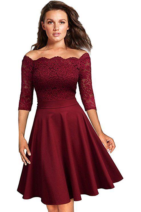 Knielanges Cocktailkleid in eleganter A-Linie. Schlanke Taille und  schulterfreies, spitzenbesetztes Oberteil mit halblang…   ❤ Hochzeit in  bordeaux rot in ... 10bd424263