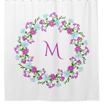 #Your Monogram in a Flower Frame shower curtain - #Bathroom #Accessories #home #living