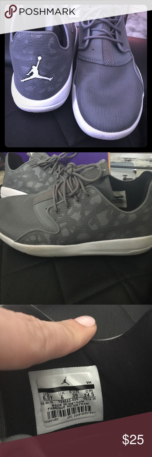 Grey camo Jordan sneakers kids 6.5y which is an 8 Super cute. Light grey. With light and dark grey camo under a grey mesh. You have to look to see it. Comfortable and cute with dresses leggings and more. These are size 6.5y which is like an 8 women's. I'm an 8-8.5 Jordan Shoes Athletic Shoes