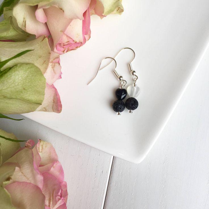 Mismatched Earrings, Cute Earrings, Lava Rock Earrings, Black Onyx Earrings, Moonstone Earrings, Heart Earrings, Clip On Earrings, UK Only by MadeByMissM on Etsy