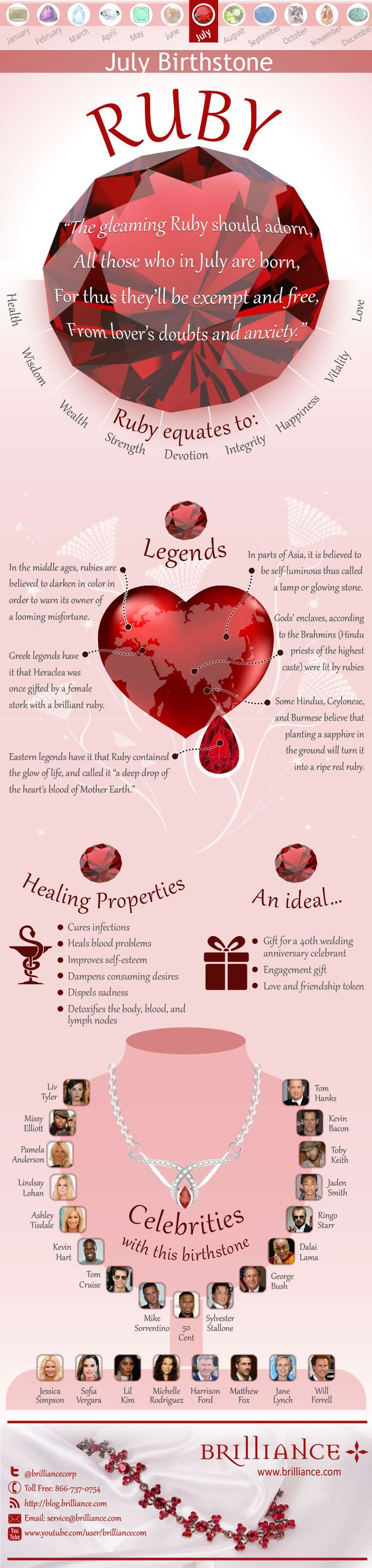 Ruby, The July Birthstone: Brilliance lets the July birthstone shine with fiery meaning with a new infographic on rubies.   http://blog.brilliance.com/2013/ruby-the-july-birthstone#sthash.f4Y6Zf3f.dpuf
