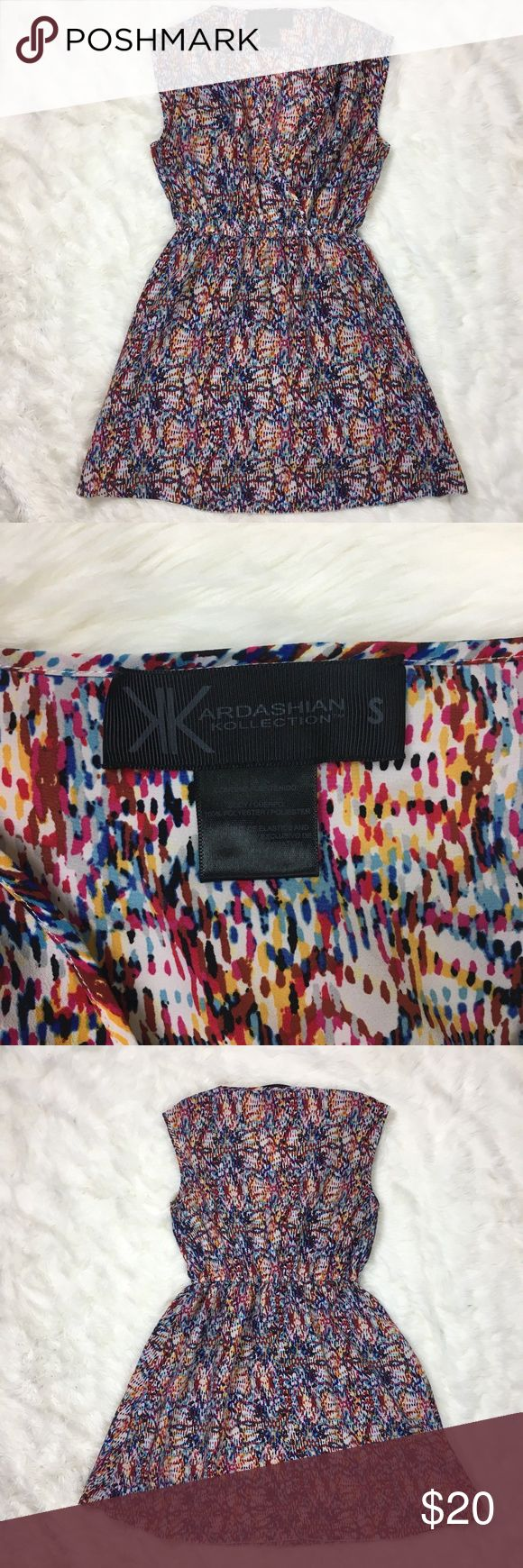 Kardashian Kollection Vneck Sleeveless Dress Gently used. Super cute for summer….
