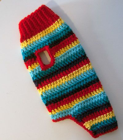 Stripey Dog Coat - free crochet pattern from Bernat