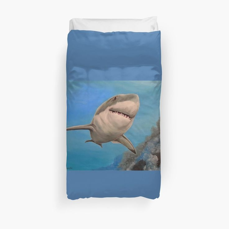 Duvet Cover, bed decor, for sale, home,accessories,bedroom,decor,cool,unique,fancy,artistic,trendy,unusual,awesome,beautiful,modern,fashionable,design,items,products,ideas,blue,turquoise,shark,wild,animal,ocean,scene,deep,sea,wildlife, redbubble
