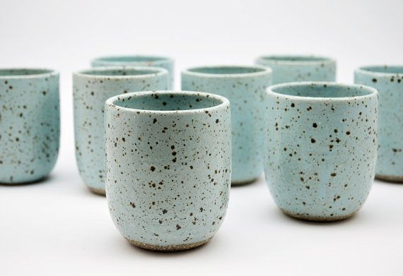 Ice Blue Speckled Tumbler - Pottery Cup - Ceramic Cup - Ceramics and Pottery…