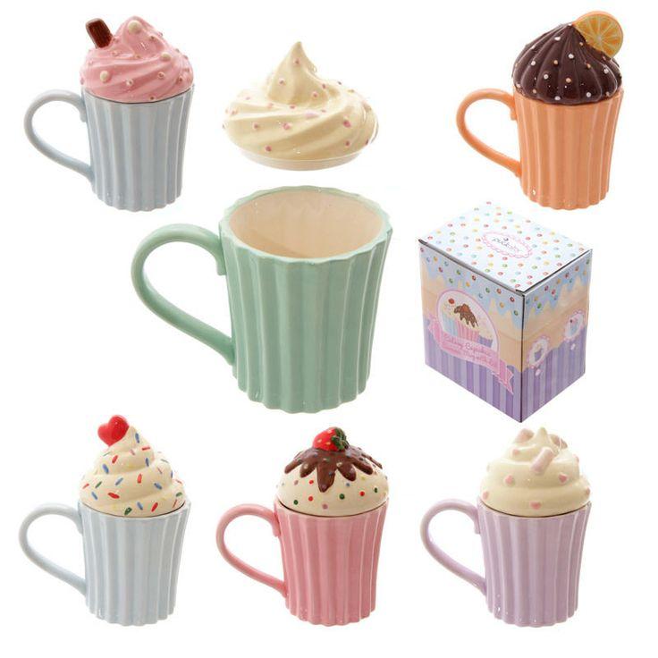 Cute Cupcake Ceramic Mug with Lid - 6 designs - Gift Boxed