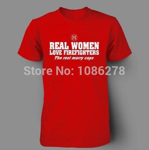 2014 nieuwe mode man/vrouw t-shirt echte vrouwen liefde brandweerlieden emt politie toevallige t-shirt ontwerp gedrukt college katoen Mens Tee(China (Mainland))