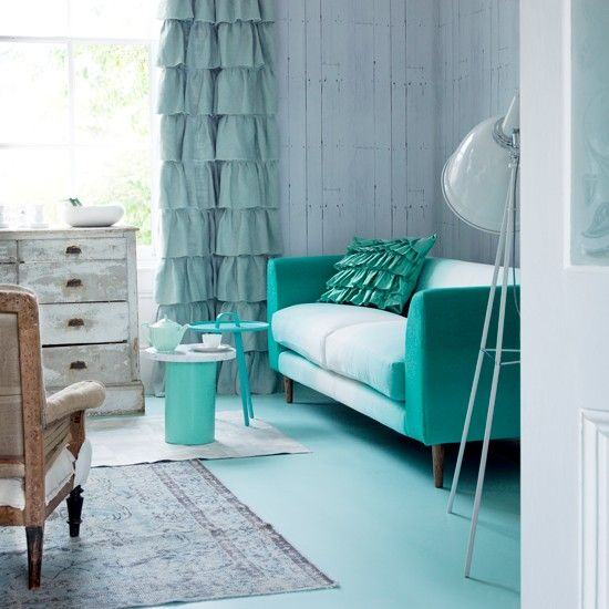 Green living room with solid-coloured vinyl flooring | Easy flooring ideas | Flooring | PHOTO GALLERY | Housetohome.co.uk