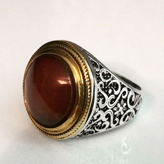 Turkish Ottoman Style Red AMBER Men's Ring 925 Sterling Silver size 9.5 #Unbranded #Statement