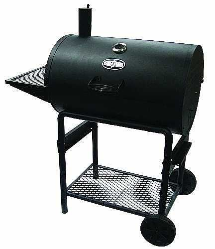 "Product Description        The Kingsford Bronco 30"" barrel grill has a 35 burger capacity. The grill is built of heavy duty construction, with durable cast iron cooking grates. It comes with a side shelf and bottom storage rack. Also wheels for easy transport. The assembled dimensions are 43"" x 23.5"" x 50"" ( 109.2cm x 59.6cm x 127cm). $155 USD"