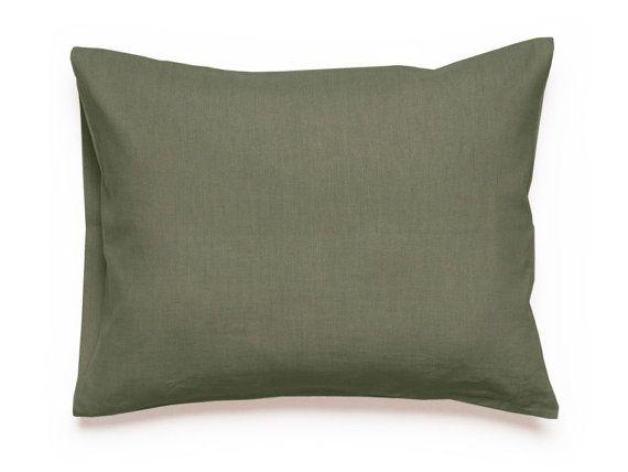 Pillowcase, Moss green linen pillowcases, Linen bedding, Envelope closure King Euro shams or Standard size Natural pillow cases