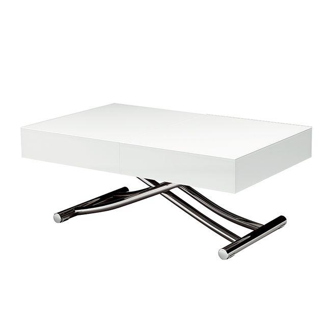 Spise/sofabordet Box fra italienske Ozzio. Spise/sofabordet kan justeres i højden og længden. Bordet har 2 indbyggede ekstraplader, der kan gøre bordet op til 2,2 meter langt. Et smukt designet bord med detaljer i enestående kvalitet. Den hvide anti-mark overflade begrænser fedtfingre. Stellet fås i 2 farver.
