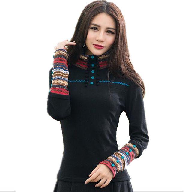 Roupas baratas da china 2016 mulheres pullover outono inverno feminino elegante étnico blusa camisa preta de gola alta manga longa top 0780