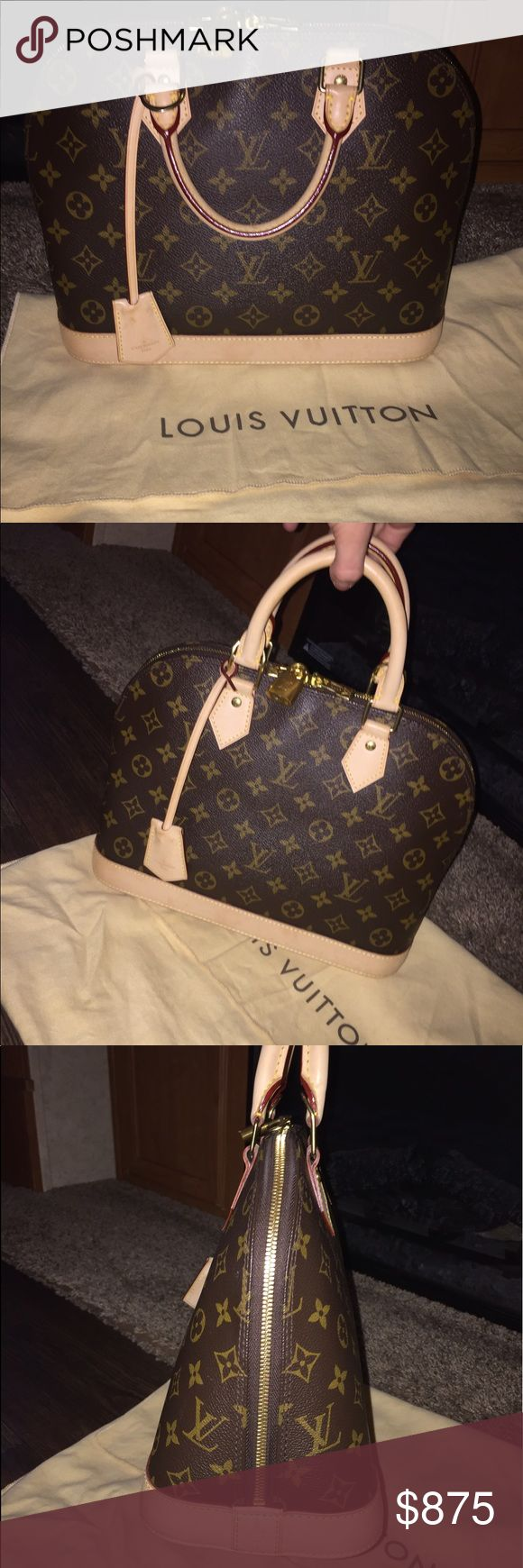 AUTHENTIC LOUIS VUITTON ALMA PM MONOGRAM BAG  AUTHENTIC LOUIS VUITTON ALMA PM BAG PURCHASED IN DALLAS NORTH PARK MALL DEC 2013 In Excellent Condition There Is A Water Mark On One Side you can't even tell it's there cuz the bag is literally just like knew I only used it one time dust bag included Louis Vuitton Bags Shoulder Bags