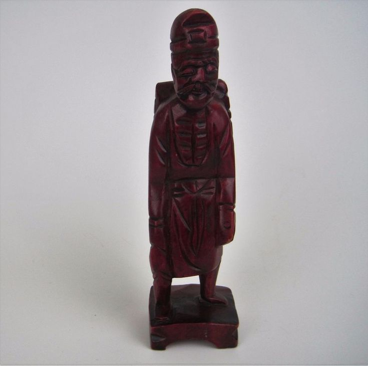 Vtg UCGC Hand Carved Wooden Man Figurine Statue Wood Chinese Asian Ethnic #Asian #UCGC