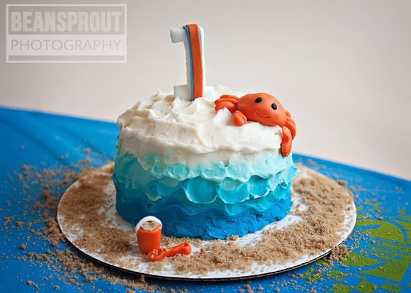 Ocean Cake Smash | Beach Cake Smash | ombre crab cake...but add pink mermaid instead of crab