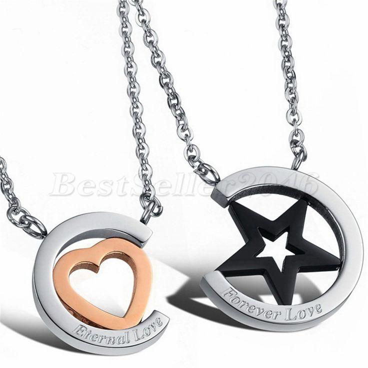 2 Freundschaftsketten Halskette Herz Stern Edelstahl Anhänger Valentine Geschenk