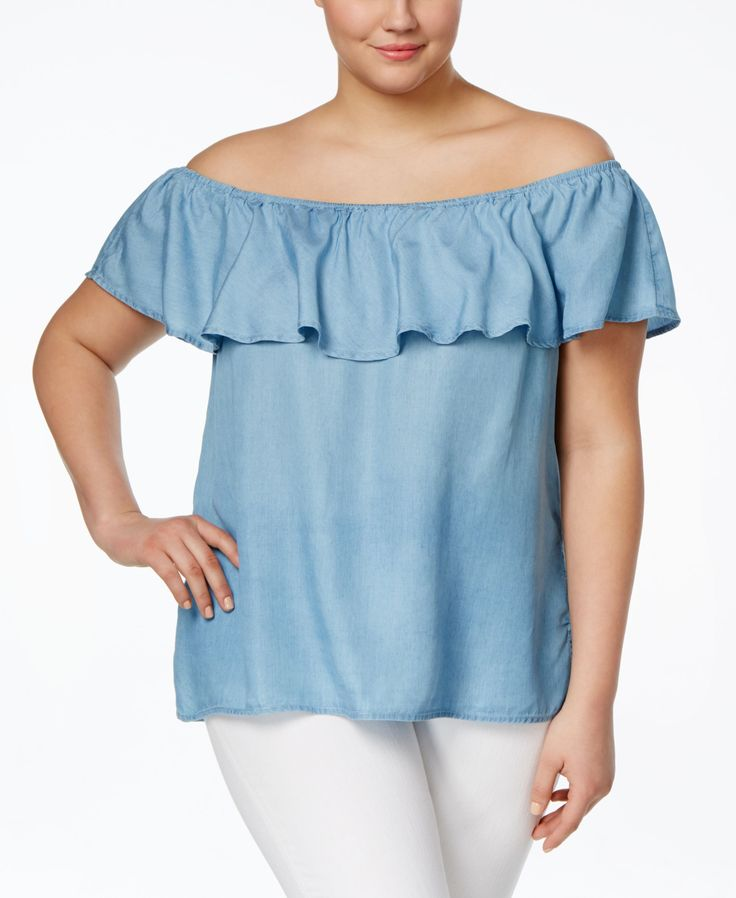American Rag Plus Size Off-the-Shoulder Chambray Top, Only at Macy's
