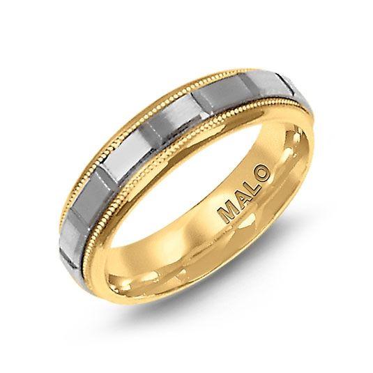 6 mm wide yellow & white gold satin finished wedding band. Available in 10 Karat, 14 Karat, 18 Karat & Platinum. - See