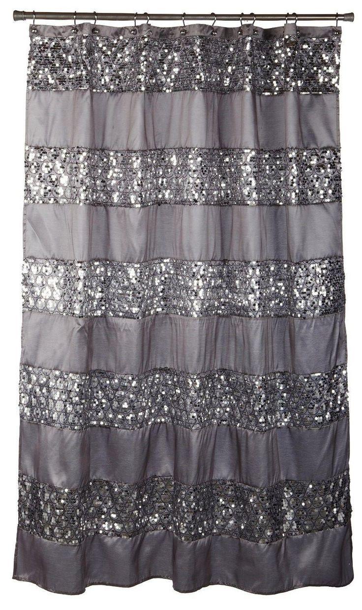 Black bathroom shower curtains - Popular Bath 7 Piece Sinatra Silver Shower Curtain Rugs And Resin Accessory Set