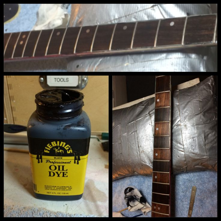 Ebonizing a rosewood fretboard using Fiebings oil dye. Some rosewood is quite 'orange' and doesn't always look good. Ebonizing is an easy way to give a quality look to a fretboard.