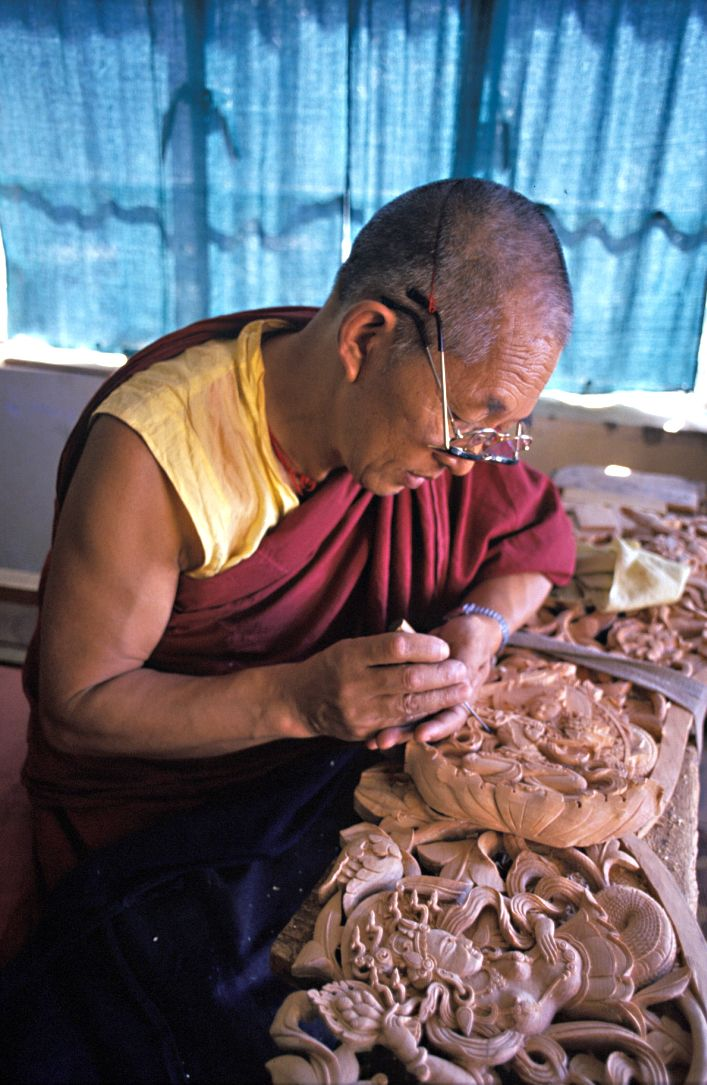 A master woodcarver in Dharamsala      The Tibetan Nuns Project http   tnp org    Brian Harris Photography http   www brianharrisphotography net