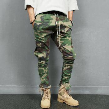 Army Green Camouflage Zipper Hem Cargo Pocket Slim Sweatpants