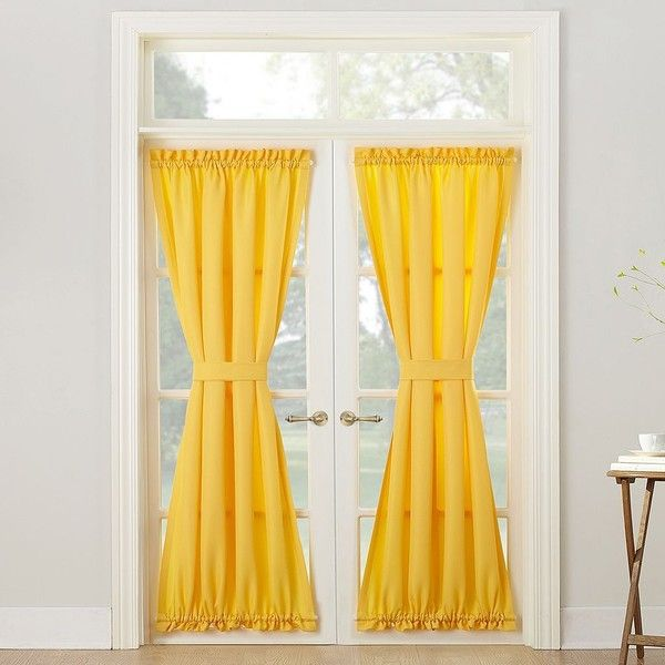 No918 Montego Door Curtain ($21) ❤ liked on Polyvore featuring home, home decor, window treatments, curtains, yellow, door curtains, door window coverings, pole pocket curtains, rod pocket draperies and semi sheer panels
